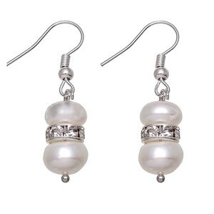 Freshwater Pearl & CZ Silver Dangle Earrings
